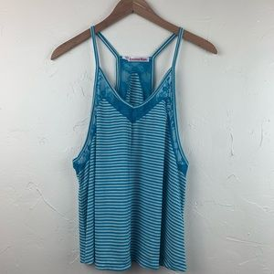 Curious Gypsy Tops - Curious Gypsy teal and white stripe racerback top